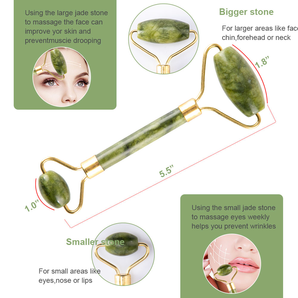 Massager For Face Jade Roller Facial Skin Care Tools Natural  Gouache Scraper Body Back Beauty Slimming Massagers Roller Set 5