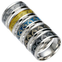 Wholesale lots bulk 30pcs dolphin rings men women Stainless Steel fashion carving pattern bands gold silver black blue ring