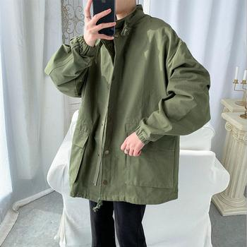 2020 Spring autumn new Tooling jacket for men loose plus size Solid color Man jacekts coat Casual Outerwear w715