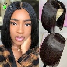 Siyo em linha reta bob peruca 4x4 fechamento do laço perucas de cabelo humano 100% malaio remy bob peruca para preto feminino curto bob perucas do laço