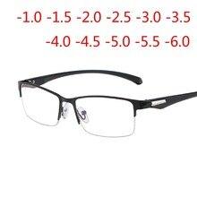 Металлический корпус с плоскими стеклами и половинной рамкой готовой близорукость очки Для женщин Для мужчин близорукие студент диоптрий-1,0-1,5-2,0-2,5-3,0-3,5-4,0-4,5-5,0-6,0