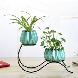 Minimalistyczny zielony roślin wazon hydroponiczny uchwyt żelazny ceramiczny Scindapsus pojemnik domu salon ozdoby do dekoracji|Doniczki i skrzynki do kwiatów|   -