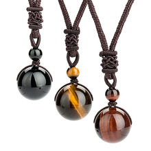 Bead Necklace Pendant Tiger-Stone Crystal Round Hand-Woven