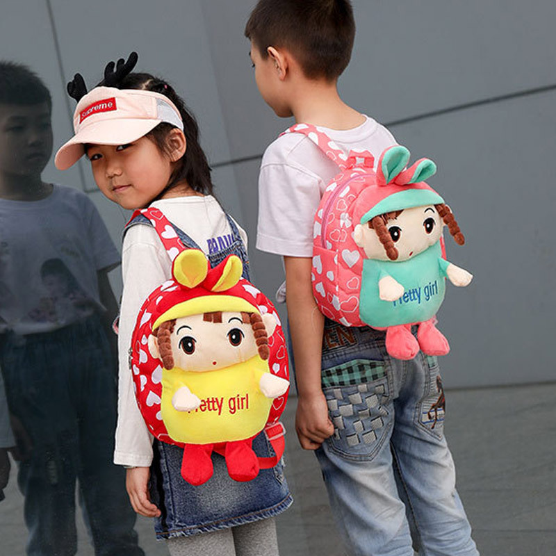 2019 Fashion Children Backpack Trend Plush Canvas Cartoon Schoolbag For Elementary School Students Cute Backpack