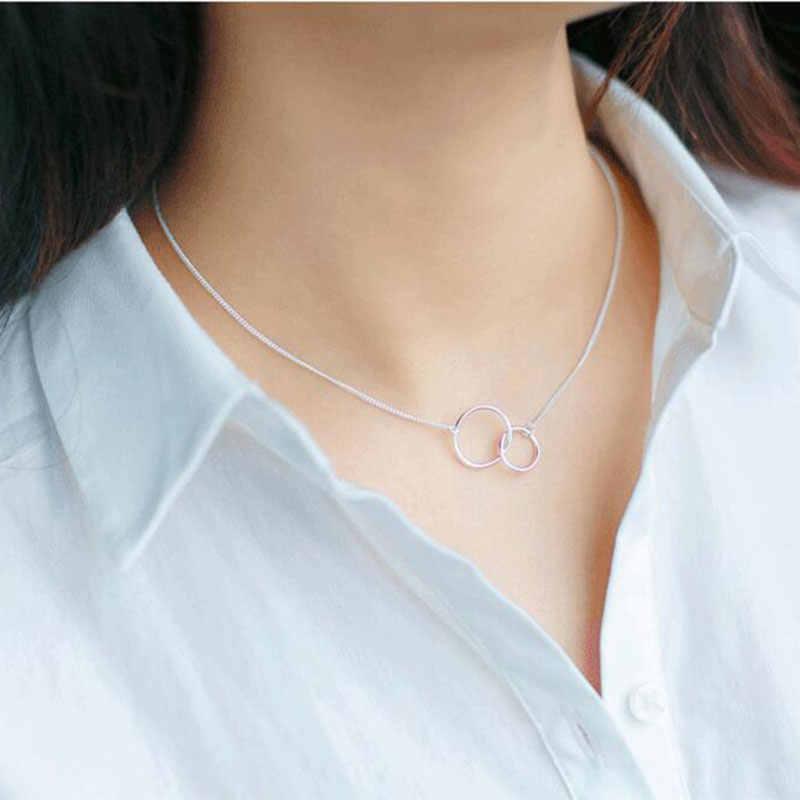 ANENJERY Minimalistischen 925 Sterling Silber Doppel Kreis Halskette + Armband Schmuck Sets Für Frauen Schwester Schmuck