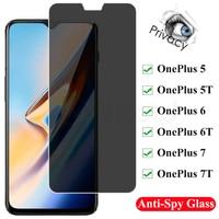 Protector de pantalla de privacidad para OnePlus 1 + 5 6 7 One Plus, cristal templado antiespía y brillante para OnePlus 1 + 5T 6T 7T
