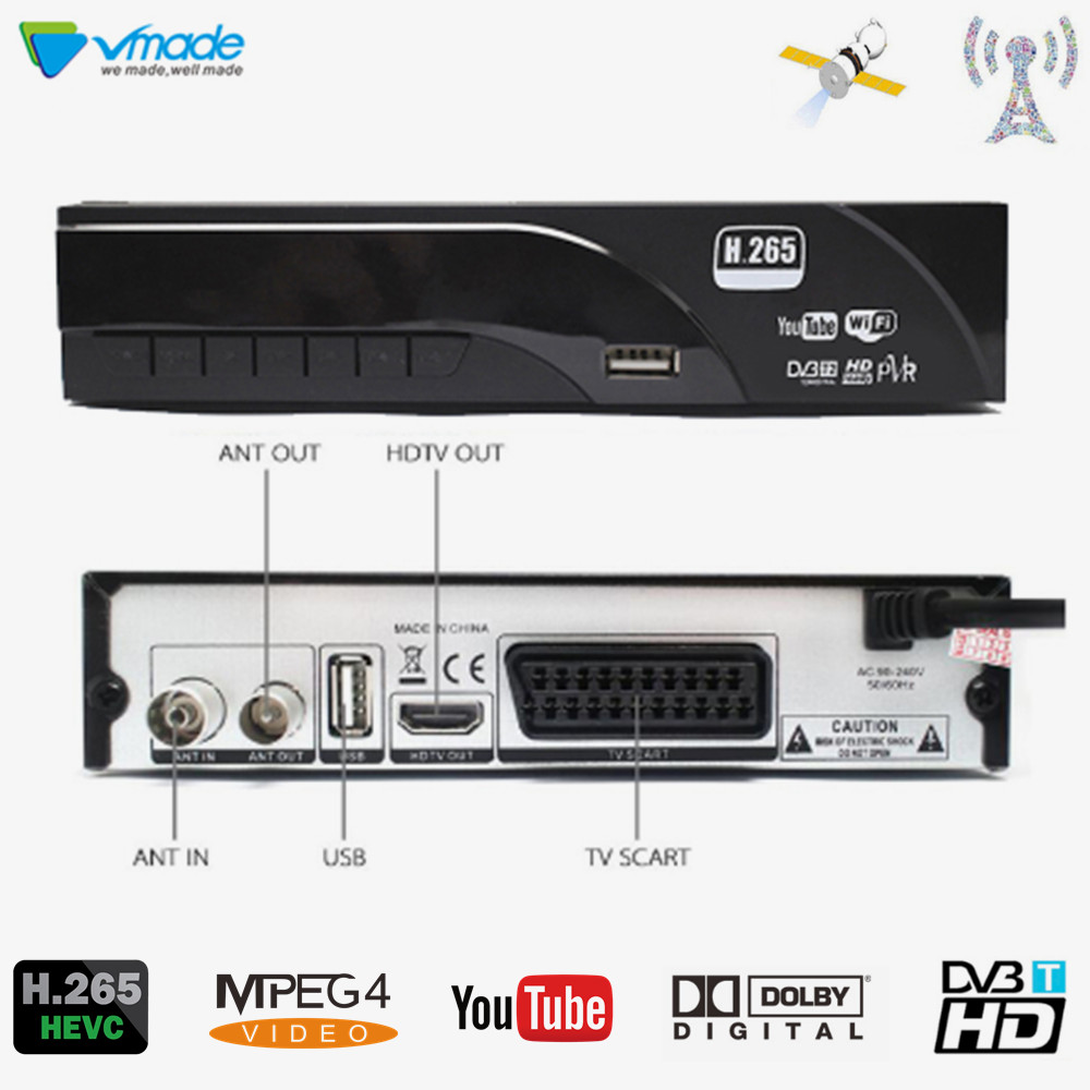 DVB T2 HD 1080P Digital Terrestrial Receiver H.265 / HEVC DVB T TV Tuner Support Dolby AC3 Youtube MPEG4 Standard Set Top Box-in Satellite TV Receiver from Consumer Electronics