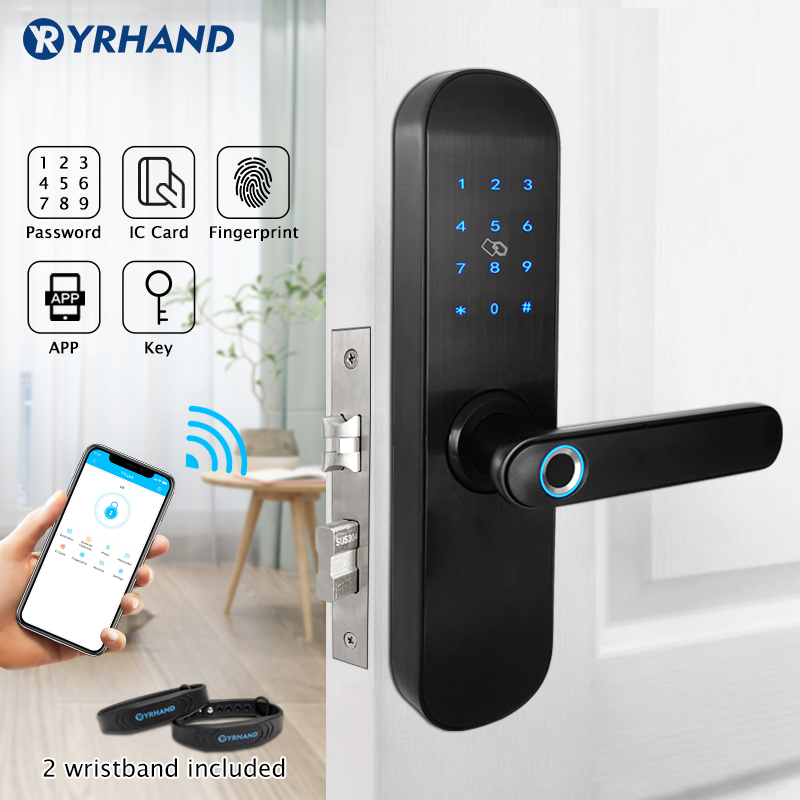 Fingerprint Door Lock With TTlock APP  Keyless Wifi Smart Lock  Fingerprint Password Electronic Door Lock For Home Security-in Electric Lock from Security & Protection