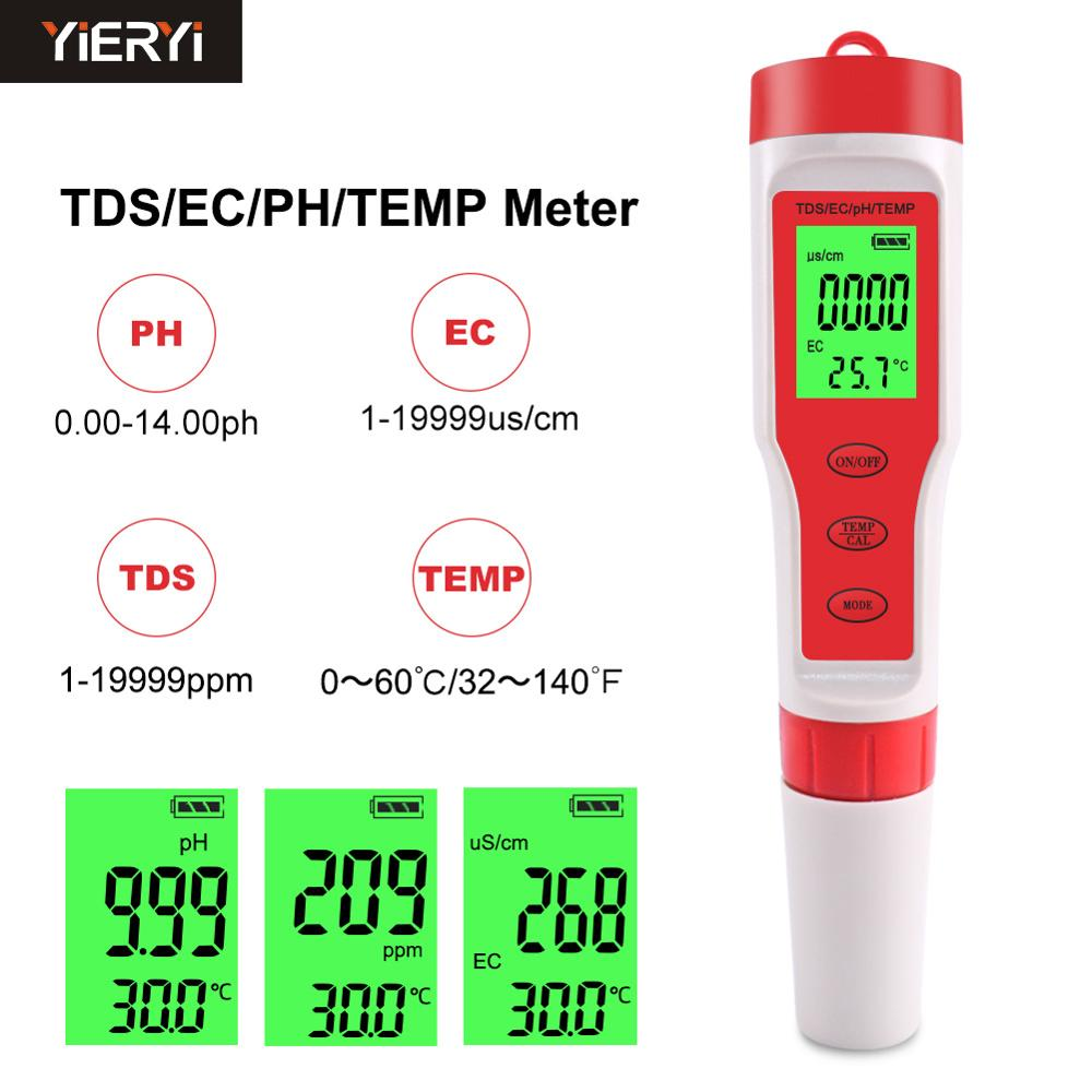 YIERYI 4 In 1 PH/TDS/EC/Temperature Meter Digital Water Quality Monitor Tester For Pools, Drinking Water, Aquariums
