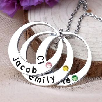 Personalized Necklace Birthstone Necklace Circle Pendant Custom Family Names Jewelry Custom Gift for Her Mother's Day Gift rose gold color family tree necklace mother s necklace with birthstone grandmas gift custom gift for mother