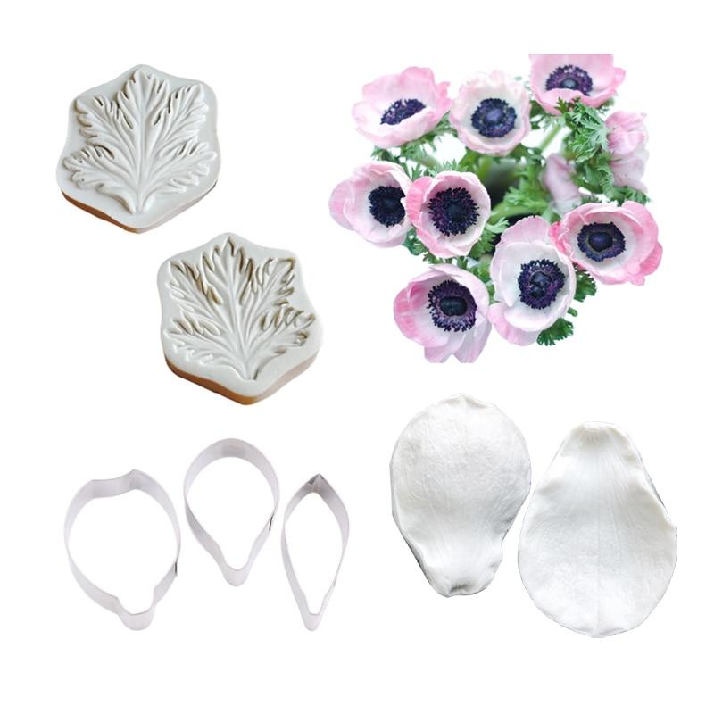 Anemone цветок молды силиконовые Veiners силиконовые формы для украшения торта лист Gumpaste помадка 3D Цветы Форма свадьбы CS375 инструменты