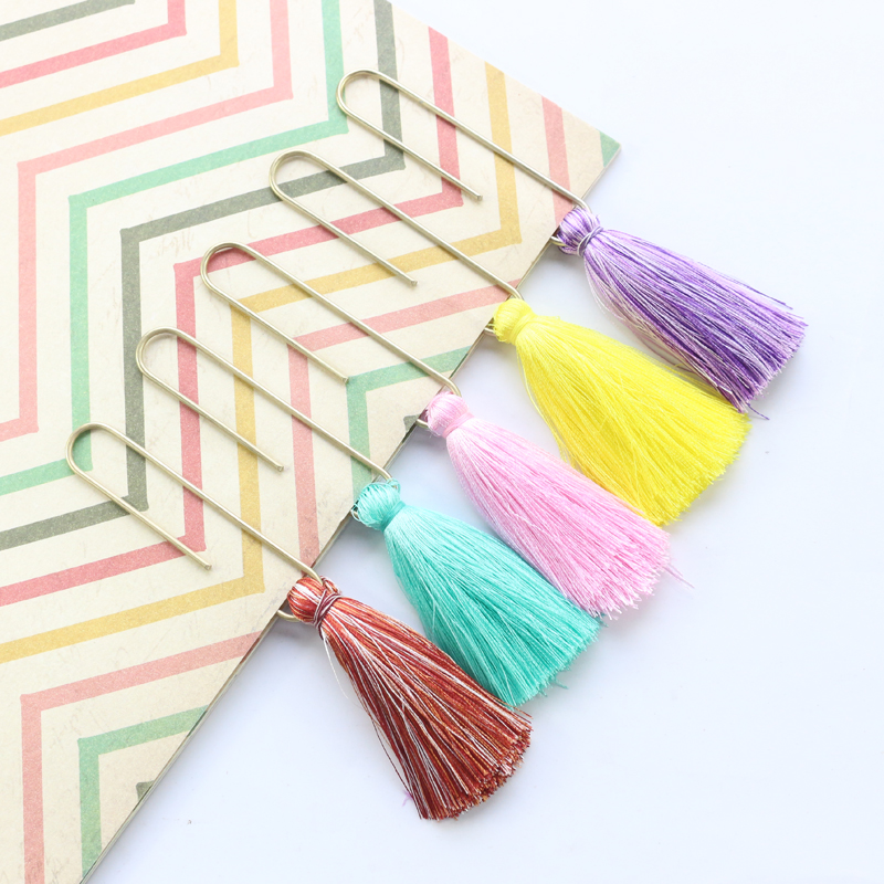 Domikee Large Classic Metal Tassel Office School Paper Clip Bookmarks Set Fine Student Color Memo Clips Stationery Supplies 2pcs