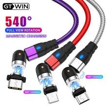 Gtwin 540 cabo magnético usb cabo de carregamento rápido tipo c carga micro cabo usb para iphone 11 pro xs plus samsung xiaomi usb c