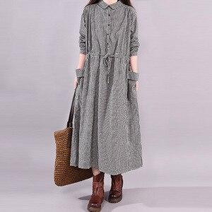 Vintage sukienka w kratę 2020 koreański japoński wiosna sukienka Maxi z długim rękawem kobiety elegancki guzik kieszeń Vestidos szata linii pasa