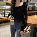 Autumn Women's 2019 New Western Style Small Light Cooked Style Velvet Short Sweater Slim-Fit Black Butterfly Sleeve Top