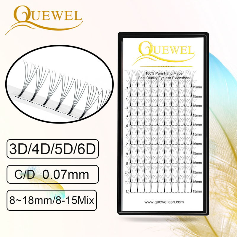 Quewel Premade Fans Volume Eyelash Extension Black Matte Long Stem Lashes C/D Curl Personal Professional Makeup Lashes Extension