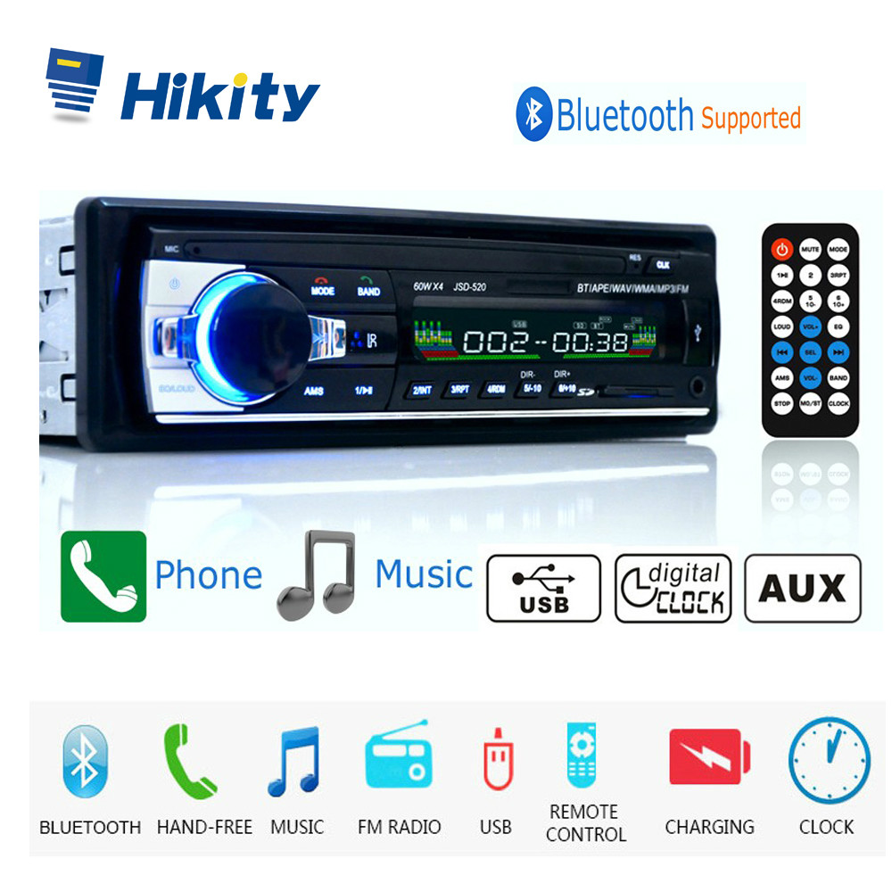 Hikity autoradio 12V JSD-520 Car Radio Bluetooth 1 din Car Stereo Player AUX-IN MP3 FM radio Remote Control for phone Car Audio image