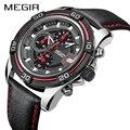 Megir quartz часы для мужчин люксовый бренд Хронограф Дата светящаяся стрелки из натуральной кожи водонепроницаемые мужские часы черные наручны...