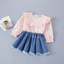2-7 anos de alta qualidade primavera menina conjunto de roupas 2021 nova moda xadrez sólida camisa + denim saia crianças do miúdo meninas roupas