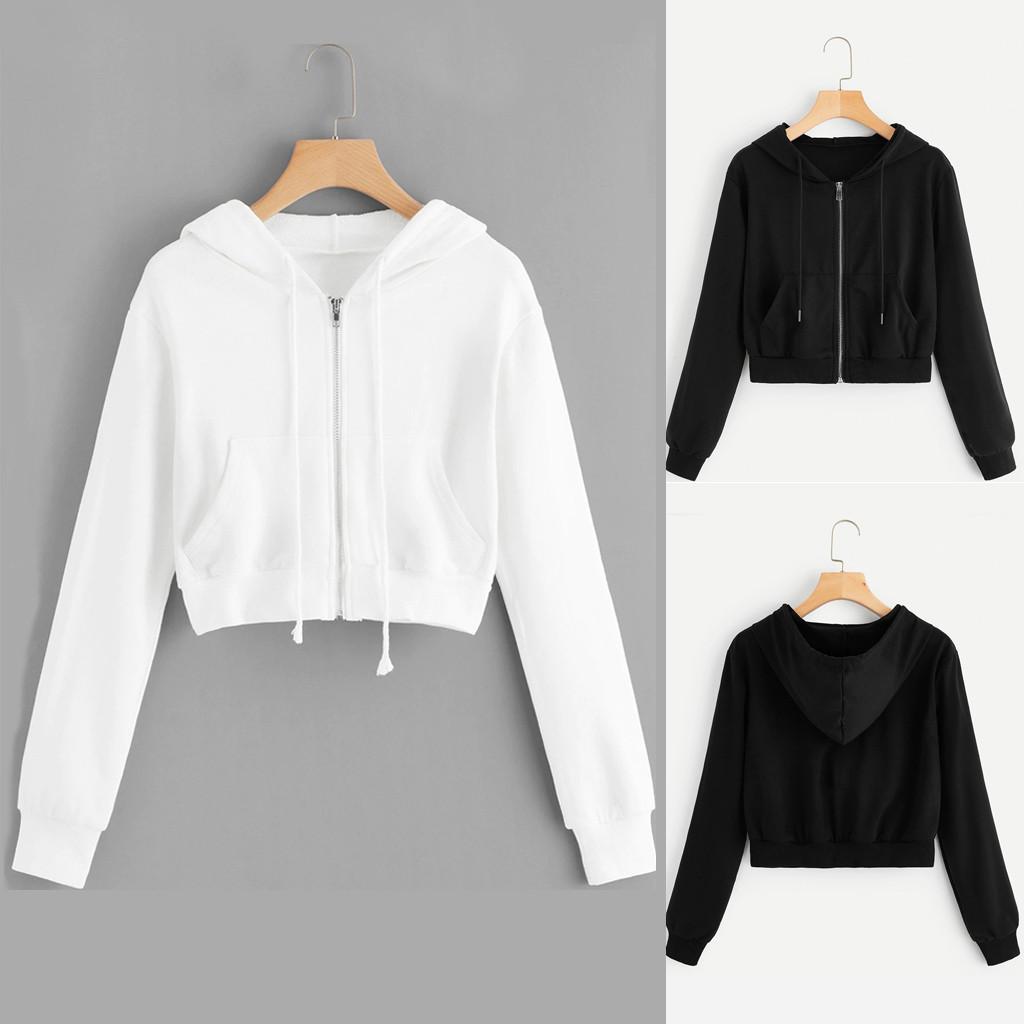 40# Women Zipper Pocket Hoodies Crop Top Casual Solid Long Sleeve Shirt Hooded Sweatshirt White Hoodies Oversizeed Korean Style