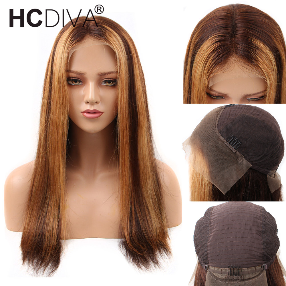 Ombre Honey Blonde Lace Front Wigs Straight 13*4 Colored Human Hair Wigs 4/27 Brazilian Remy Lace Front Human Hair Wigs Women