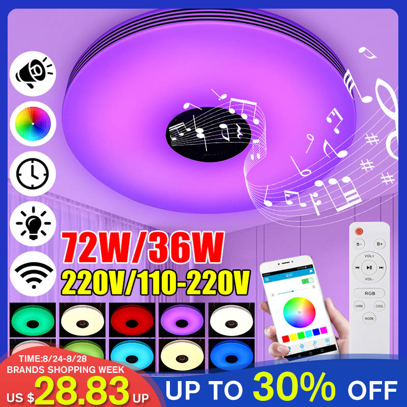 36W 72W Music Led Ceiling Light Lamp RGB Flush Mount Round Music APP bluetooth Speaker Smart Ceiling Lamp With Remote Control