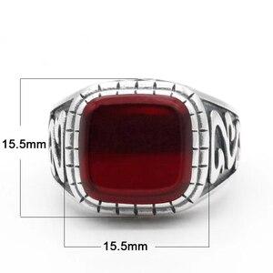 Image 2 - 925 Sterling Silver VINTAGE แหวนผู้ชายสแควร์สีแดงหินธรรมชาติ ONYX เงินไทยแหวนแกะสลักสำหรับชายตุรกี Handmade เครื่องประดับ