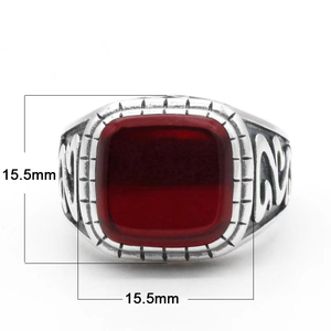 Image 2 - 925 Sterling Silver Vintage Men Ring with Square Red Natural Onyx Stone Thai Silver Carved Ring for Men Turkish Handmade Jewelry