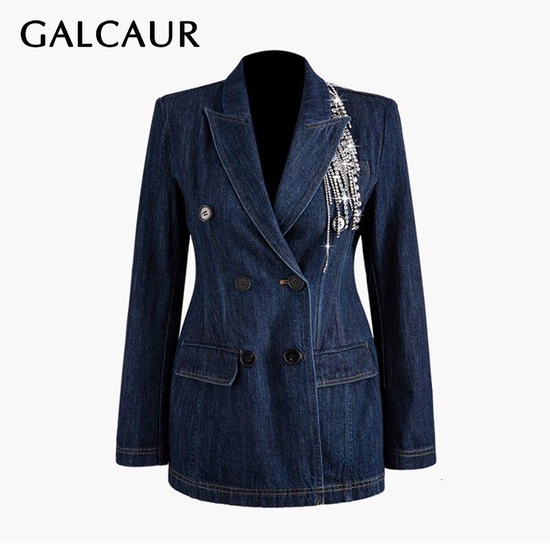 GALCAUR Patchwork Crystal Tassel Women's Blazer Notched Long Sleeve Double Breasted Tunic Denim Coats Female 2019 Fashion New