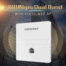 1200Mbps Wireless in wall AP 2.4G+5Ghz dual band access point AP for hotel with gigabit WAN LAN RJ45 Port 48V POE ac wifi Router 802 11 ac 1200mbps high power enterprise gigabat wireless router through wall 2 4g 5g dual band wireless ap gateway repeater