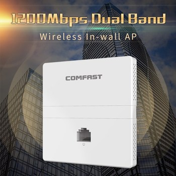 1200Mbps Wireless in wall AP 2.4G+5Ghz dual band access point AP for hotel with gigabit WAN LAN RJ45 Port 48V POE ac wifi Router 2018 comfast gigabit ac gateway routing 4 ports poe power supply multi wan access with 5 1000mbps port traffic control ap switch