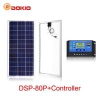 DOKIO Brand 80W 18 Volt Solar Panel China 80 Watt Solar Panels Module/System Charger/Battery + 10A 12/24 Volt Controller