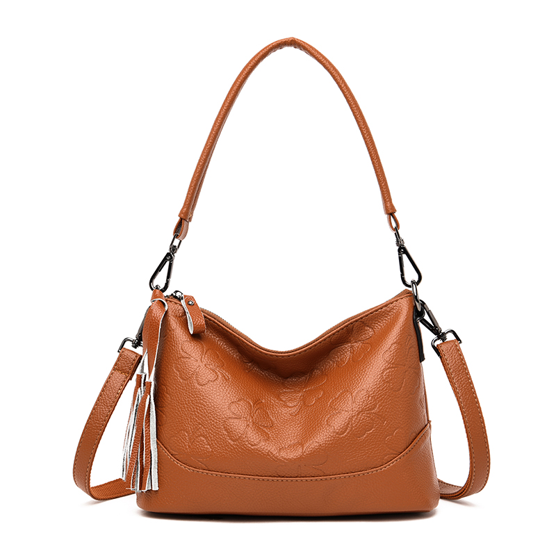 Fashion Hobos 100% Genuine Leather Handbag Women Shoulder Bag Black Lady Crossbody Messenger Bags High Quality Shoulder Bags