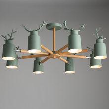 Nordic Oak wood E27 ceiling chandelier Iron Deer head Shape kitchen living room bedroom Chandelier Lighting Macaroon 7 colos D33
