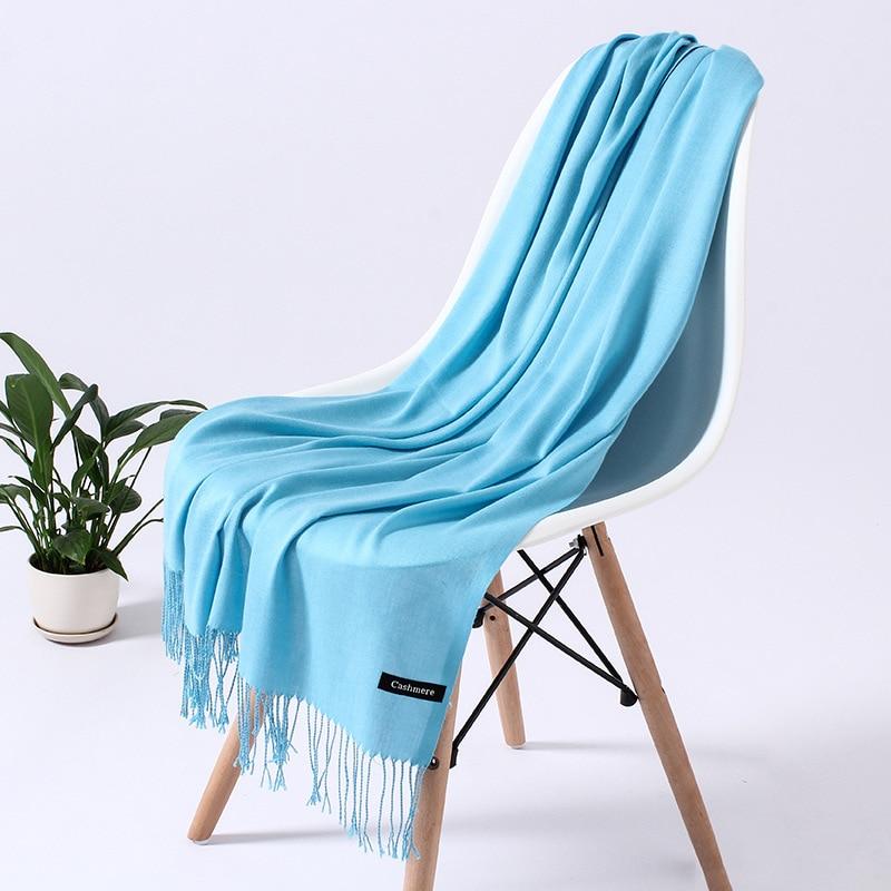 Однотонный кашемировый шарф для женщин новые длинные мягкие шали и палантины пашмины модные хиджаб с кисточками женские шейные шарфы - Цвет: 110g sky blue