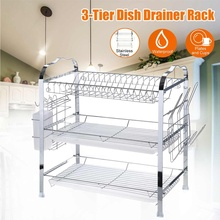 3 Tiers Stainless Steel Multifunction Kitchen Storage Chrome Dish Drainer Cutlery Cup Holder Rack Drip Tray Organizer