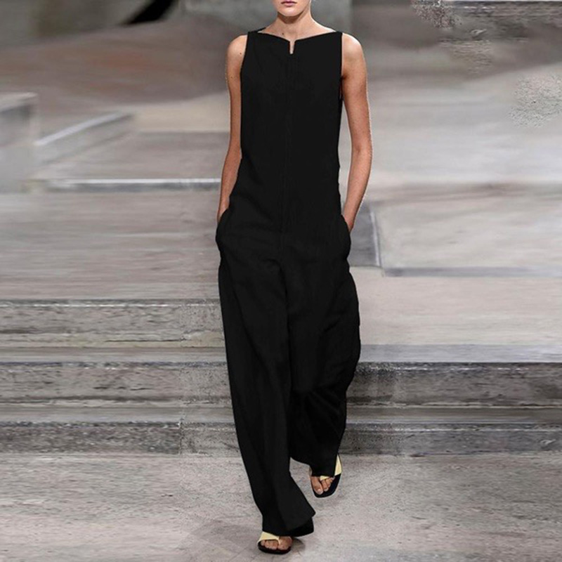 Women   Jumpsuit   Elegant Solid black Colour Casual Pocket Summer Pant Sleeveless   Jumpsuit   Overalls For Women