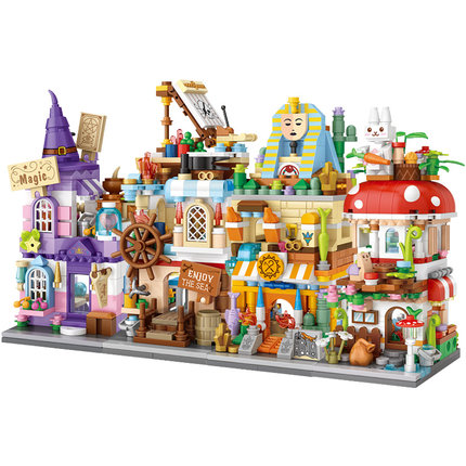 304pcs+ newLOZ Mini Blocks City Street view Magic/Navigation/ archaeology house learning I-Interactive Assemble Toys Brinquedos