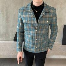 Plaid woolen coat autumn and winter men's slim new casual plaid woolen coat jacket men's fashion dark buckle plaid woolen coat plaid