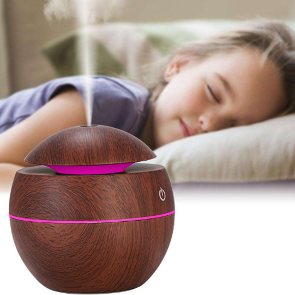 LED USB Wood Grain Ultrasonic Air Humidifier Aroma Essential Oil Diffuser Home Bedroom Decoration