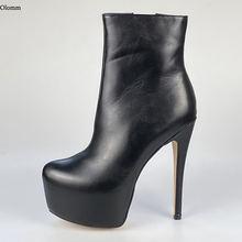 Женские ботильоны ручной работы olomm черные Клубные ботинки
