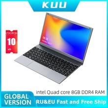 KUU 14.1 Inch 8GB DDR4 RAM 256G 512G SSD Windows 10 laptop Intel J4115 Quad core Full size Keyboard Student Notebook