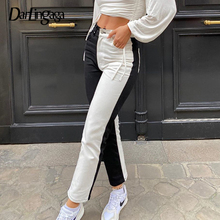 Darlingaga Fashion Black White Patchwork y2k Woman Jeans Straight Skinny High Waisted Denim Pants Slim Long Trousers New Outfits