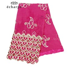 Luxury Scarf High Quality 100% Cotton Dubai African Women Islamic Scarf LOVE pattern Embroidery Chemical Lace Scarf 2 color