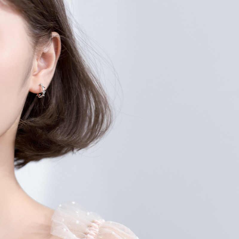 Trusta 925 Sterling Silver Hoop Earring Barbed Wire Ear Cuff Clip On S925 Earrings Gift For Women Girl Teen Jewelry DS1410