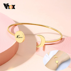 Vnox Women Trendy Sun and Moon Charm Cuff Bangle Bracelets with Personalize Engraving Info Custom Jewelry