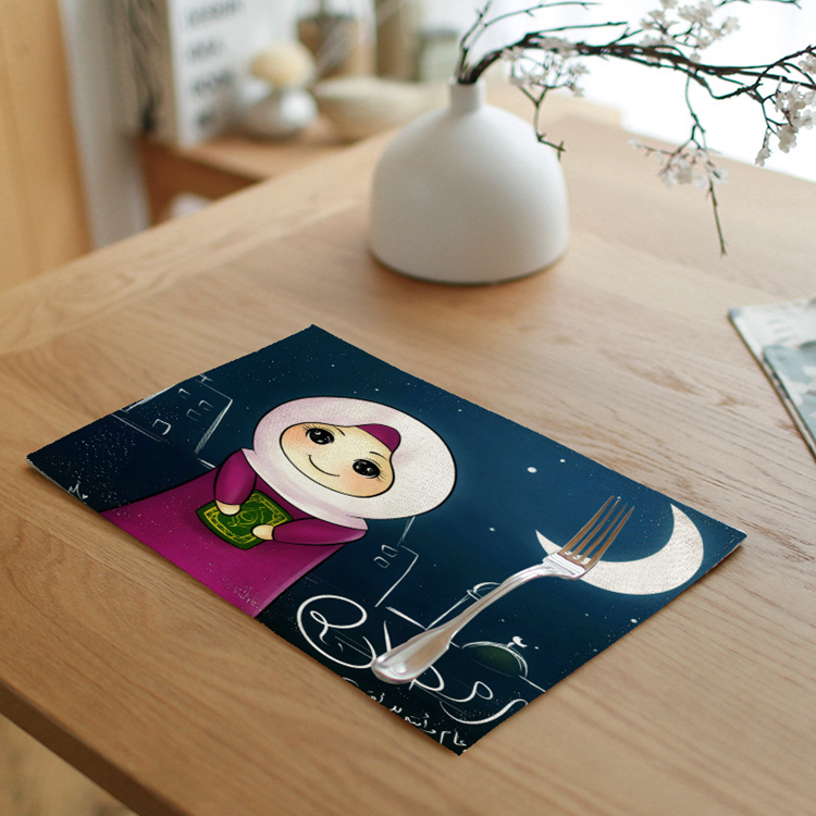 Muslim Ramadan Decoration For Home EID Linen Mats Eid Mubarak Decoration Muslim Mosque Decorative Supplies Baby Shower Decor Mat