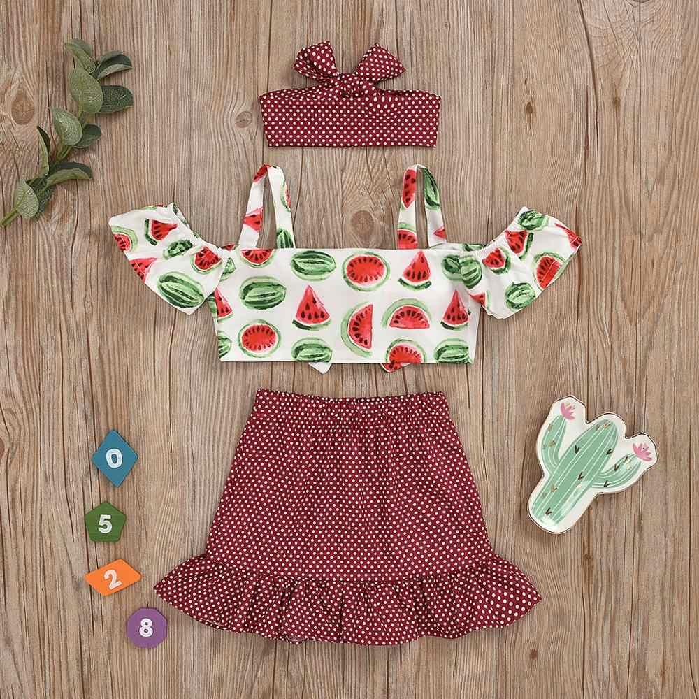 Kız 3 adet Slash boyun kapalı omuz baskı kırpma üst + Mini etek elbise + kafa bandı kıyafetler yaz bebek kız setleri