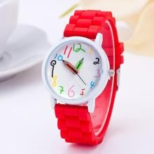 Hot Selling Unisex Fashion Silicone Watch Arabic Numeral Pencil Shape Analog Qua