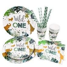 Wild One vajilla desechable para fiesta jungla de Safari decoración de fiesta de cumpleaños niños taza y plato de papel suministros de baño para bebé